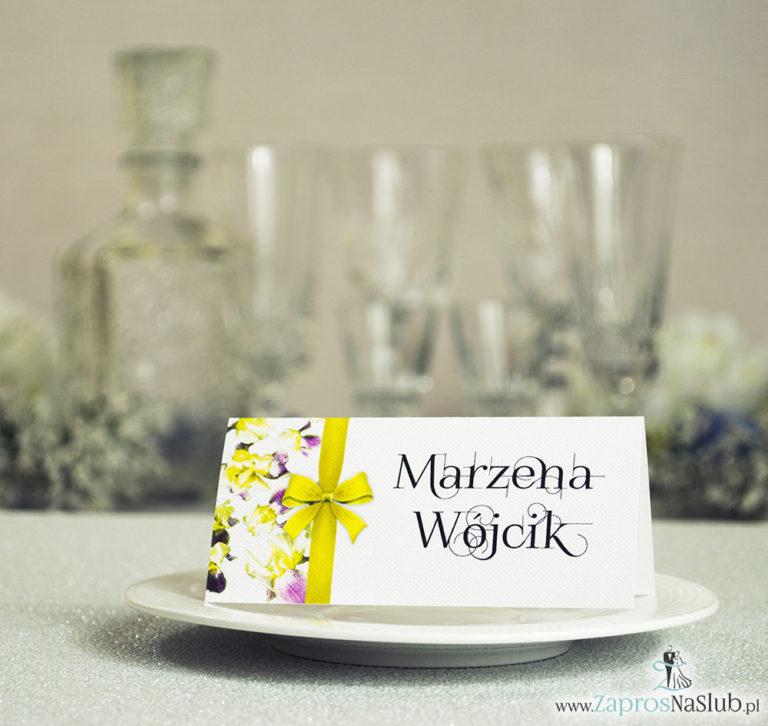 Kwiatowe winietki ślubne – składane na pół winietki. Żółto fioletowe irysy z malowaną, pionową wstążką - ZaprosNaSlub