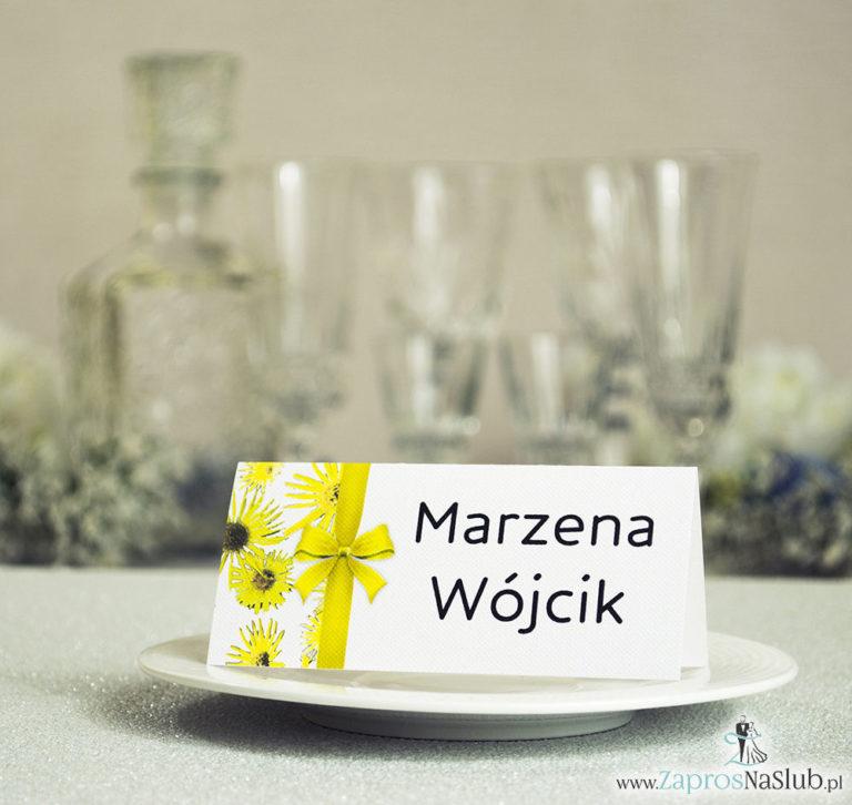 Kwiatowe winietki ślubne – składane na pół winietki z kwiatami słonecznika oraz pionową malowaną wstążką - ZaprosNaSlub