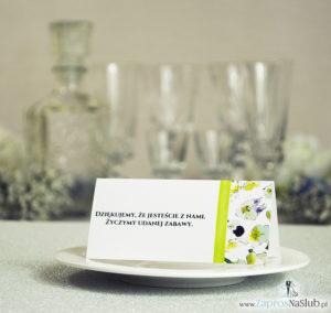 WIN-220 Kwiatowe winietki ślubne - składane na pół winietki. Kwiaty bratki z malowaną, pionową wstążką - zaproszenia na ślub zaproszenie ślubne rew