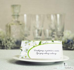 Kwiatowe winietki ślubne - składane na pół winietki z kwiatami jabłoni, prostokątem oraz malowaną kokardką