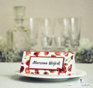 WIN-303 Kwiatowe winietki ślubne - składane na pół winietki kwiatami maków, prostokątem oraz malowaną kokardką - Zaproszenia ślubne - na ślub