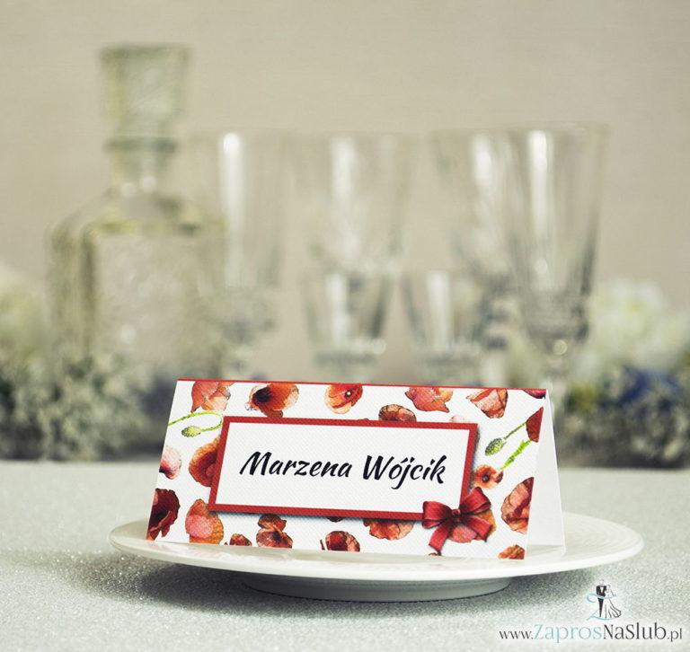 Kwiatowe winietki ślubne – składane na pół winietki kwiatami maków, prostokątem oraz malowaną kokardką - ZaprosNaSlub
