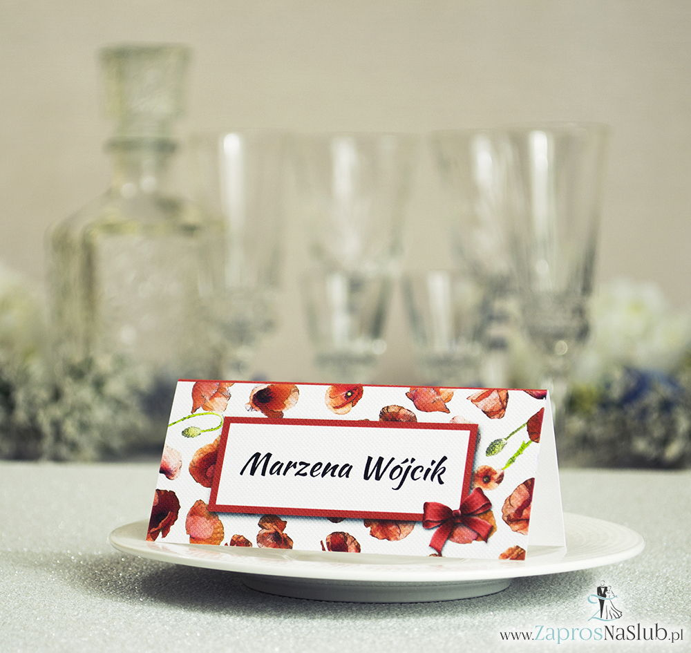 Kwiatowe winietki ślubne - składane na pół winietki kwiatami maków, prostokątem oraz malowaną kokardką