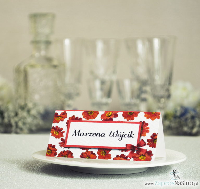 ZaprosNaSlub - Zaproszenia ślubne, personalizowane, boho, rustykalne, kwiatowe księga gości, zawieszki na alkohol, winietki, koperty, plany stołów - Kwiatowe winietki ślubne – składane na pół winietki z kwiatami gerbera, prostokątem oraz malowaną kokardką