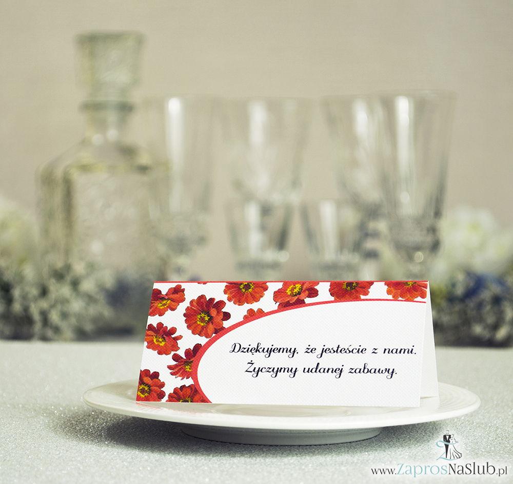 WIN-314 Kwiatowe winietki ślubne - składane na pół winietki z kwiatami gerbera, prostokątem oraz malowaną kokardką - Zaproszenia ślubne - na ślub rew