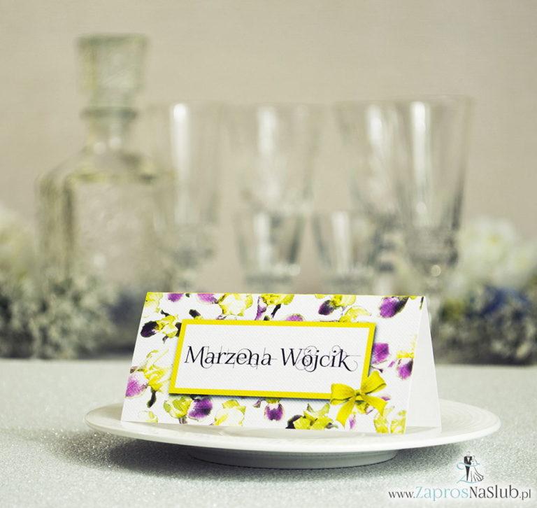 Kwiatowe winietki ślubne – składane na pół winietki z irysami, prostokątem oraz malowaną kokardką - ZaprosNaSlub