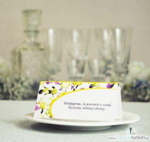 Kwiatowe winietki ślubne - składane na pół winietki z irysami, prostokątem oraz malowaną kokardką