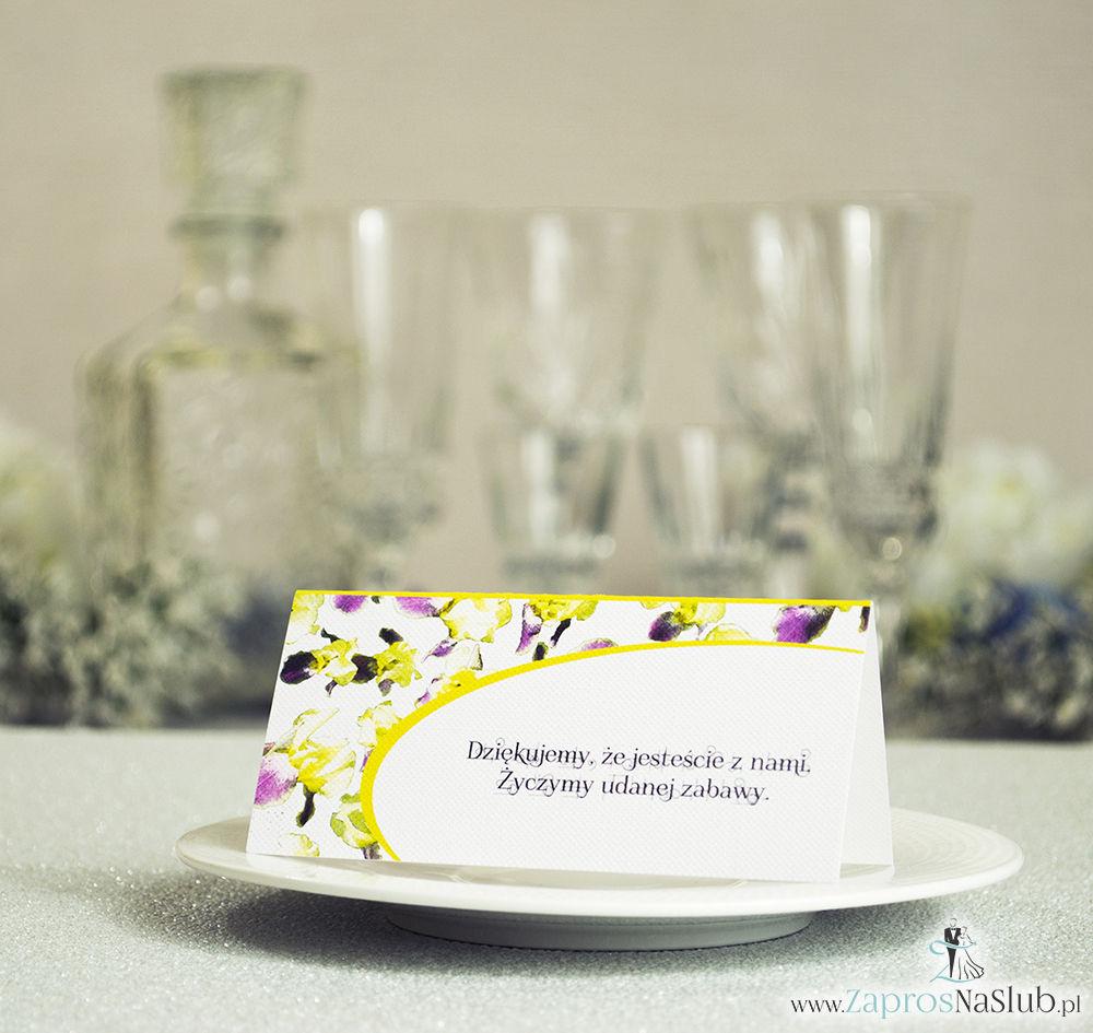 WIN-315 Kwiatowe winietki ślubne - składane na pół winietki z irysami, prostokątem oraz malowaną kokardką - Zaproszenia ślubne - na ślub rew