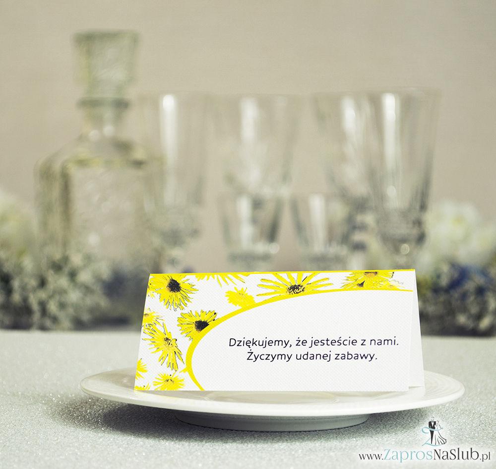 WIN-319 Kwiatowe winietki ślubne - składane na pół winietki z kwiatami słonecznika, prostokątem oraz malowaną kokardką - Zaproszenia ślubne - na ślub rew