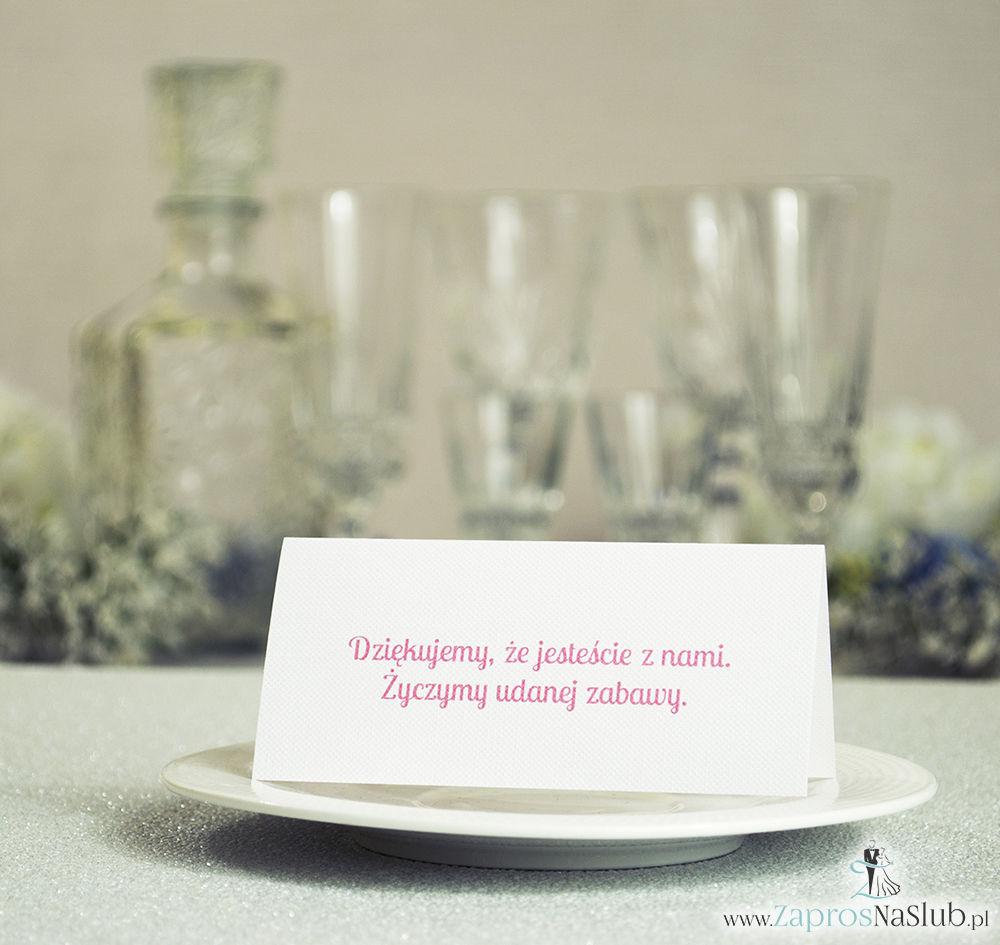 WIN-601 Kwiatowe winietki ślubne - składane na pół winietki z kwiatami jabłoni pasujące do kolekcji z wiankami - Zaproszenia ślubne - na ślub rew