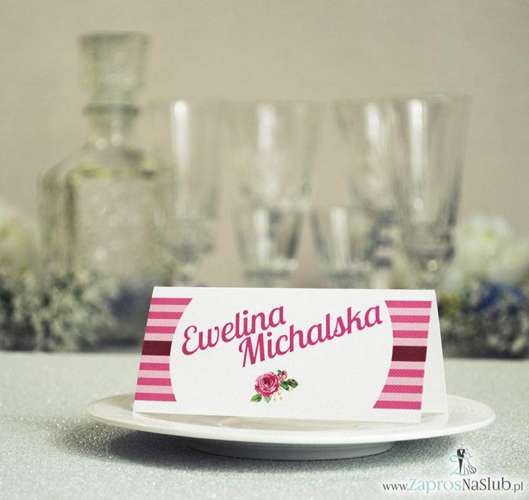 ZaprosNaSlub - Zaproszenia ślubne, personalizowane, boho, rustykalne, kwiatowe księga gości, zawieszki na alkohol, winietki, koperty, plany stołów - Kwiatowe winietki ślubne – składane na pół winietki z kwiatami róż pasujące do kolekcji z wiankami