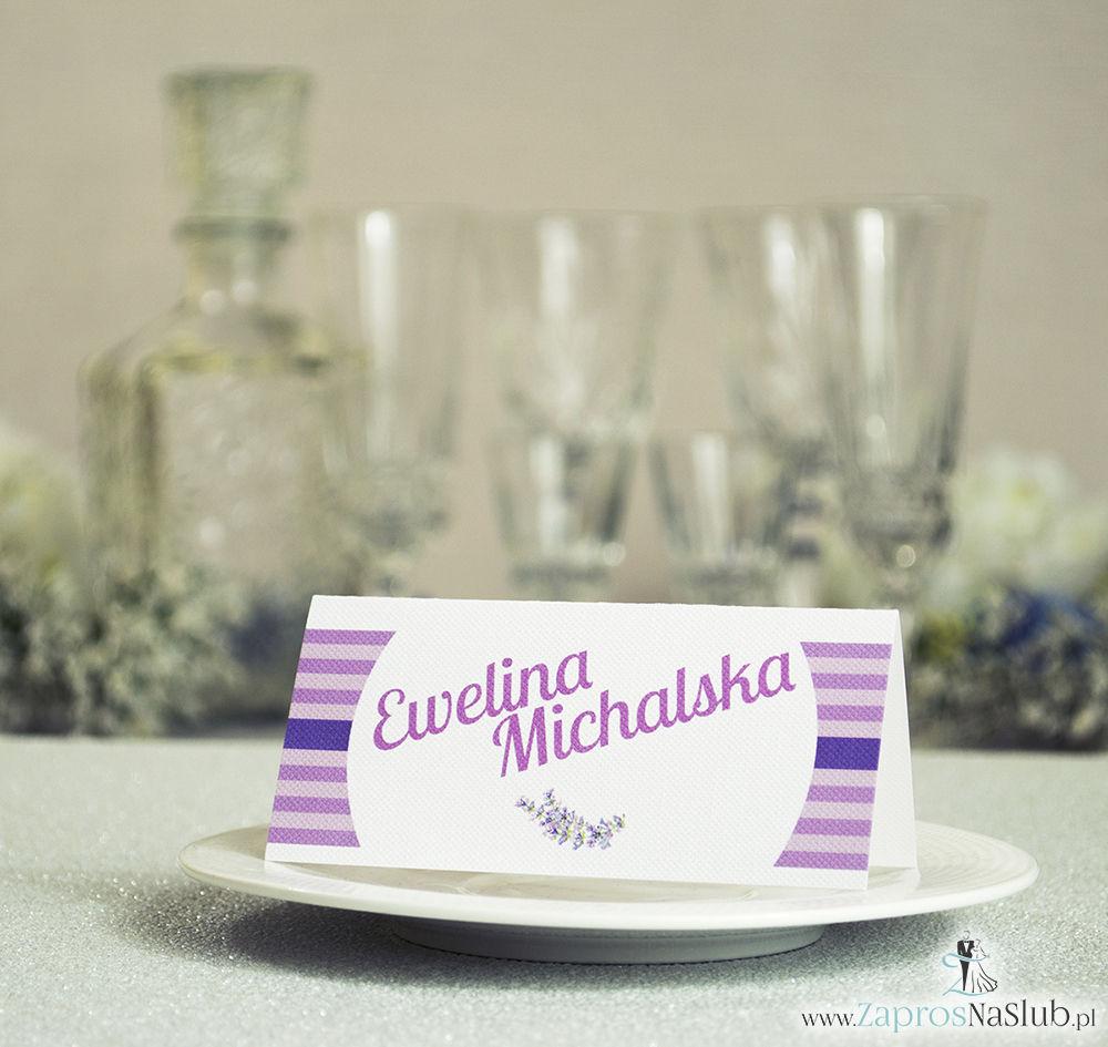 WIN-611 Kwiatowe winietki ślubne - składane na pół winietki z wrzosami pasujące do kolekcji z wiankami - Zaproszenia ślubne - na ślub
