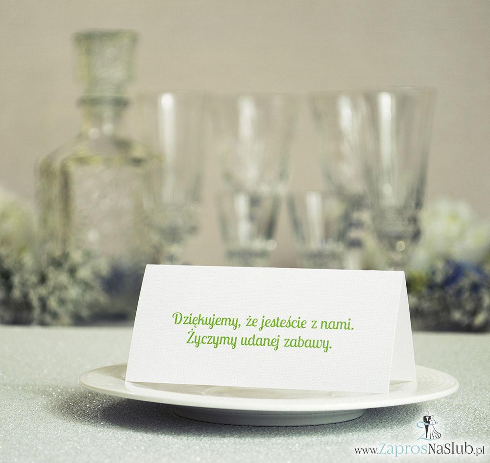 WIN-619 Kwiatowe winietki ślubne - składane na pół winietki z białymi kwiatami wiśni pasujące do kolekcji z wiankami - Zaproszenia ślubne - na ślub rew