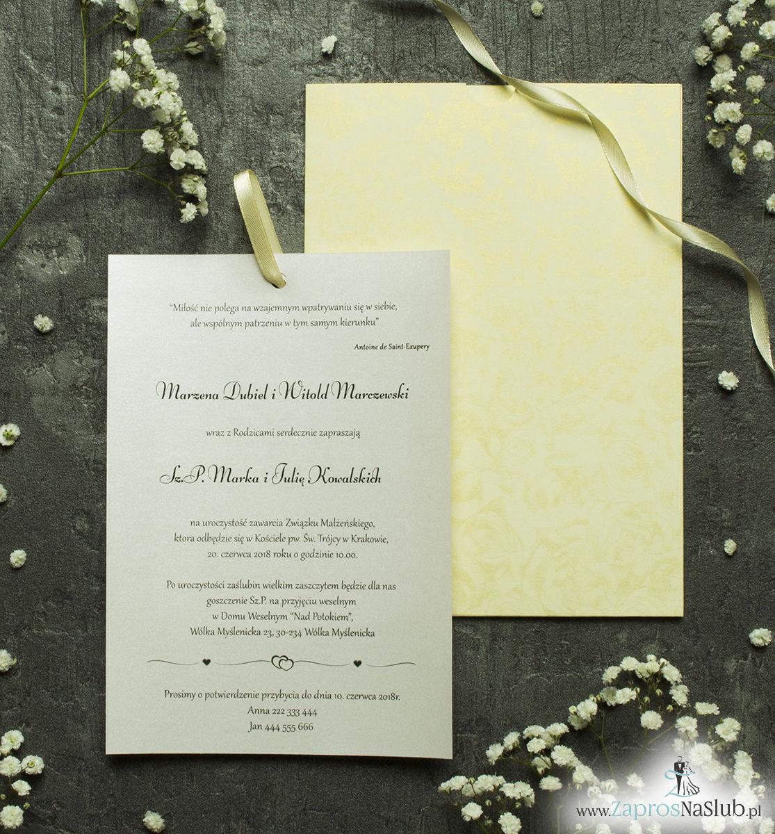 Zaproszenia ślubne w kopercie z motywem kremowych róż. ZAP-62-69