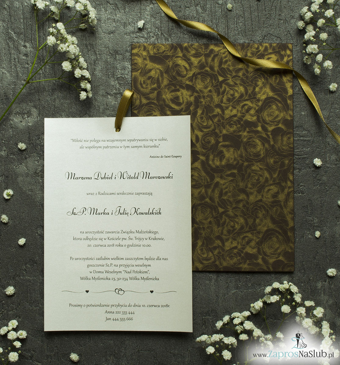 Zaproszenia ślubne w kopercie z motywem czekoladowych róż. ZAP-62-50