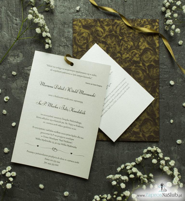 ZaprosNaSlub - Zaproszenia ślubne, personalizowane, boho, rustykalne, kwiatowe księga gości, zawieszki na alkohol, winietki, koperty, plany stołów - Zaproszenia ślubne w kopercie z motywem czekoladowych róż. ZAP-62-50