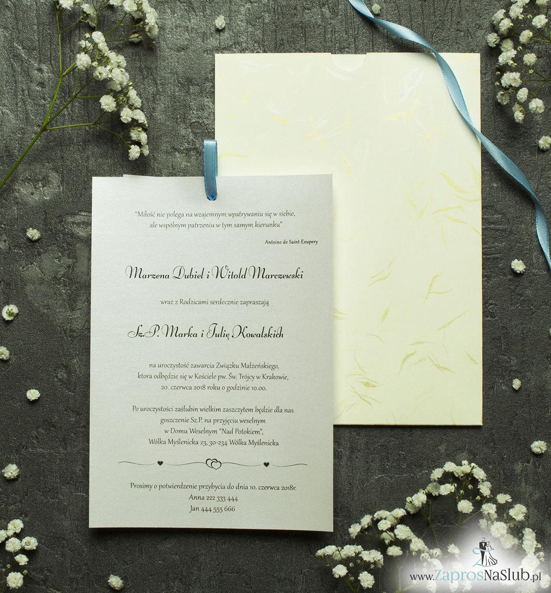 Zaproszenia ślubne w kopercie z motywem złotych i niebieskich podmuchów wiatru. ZAP-62-33