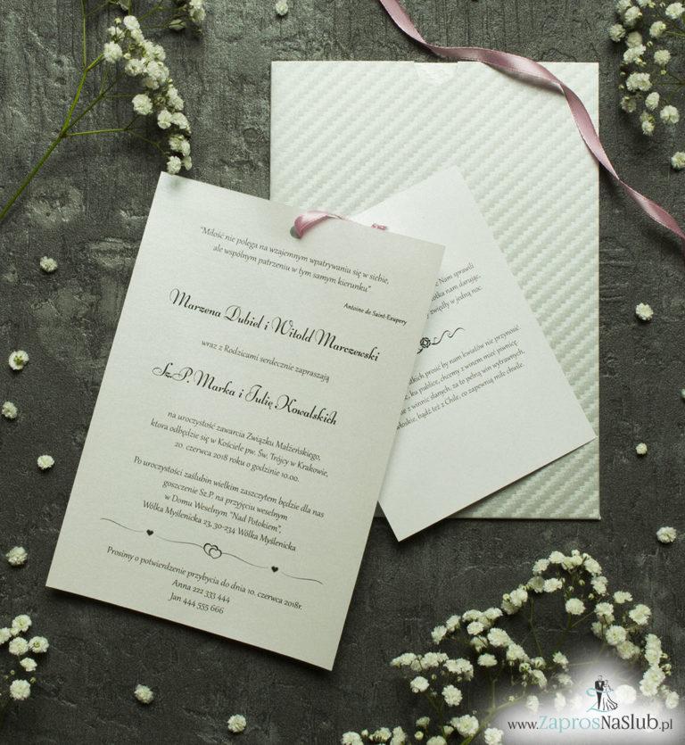 Zaproszenia ślubne w kopercie z ciekawym srebrnym motywem. ZAP-62-39 - ZaprosNaSlub
