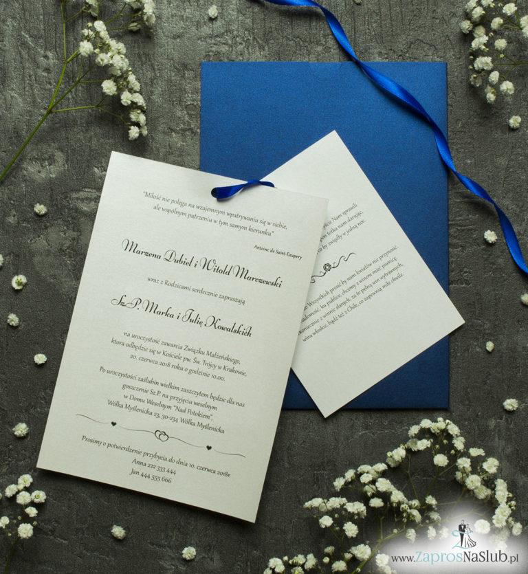 Zaproszenia ślubne w kopercie z niebieskiego, perłowego papieru. ZAP-62-86 - ZaprosNaSlub