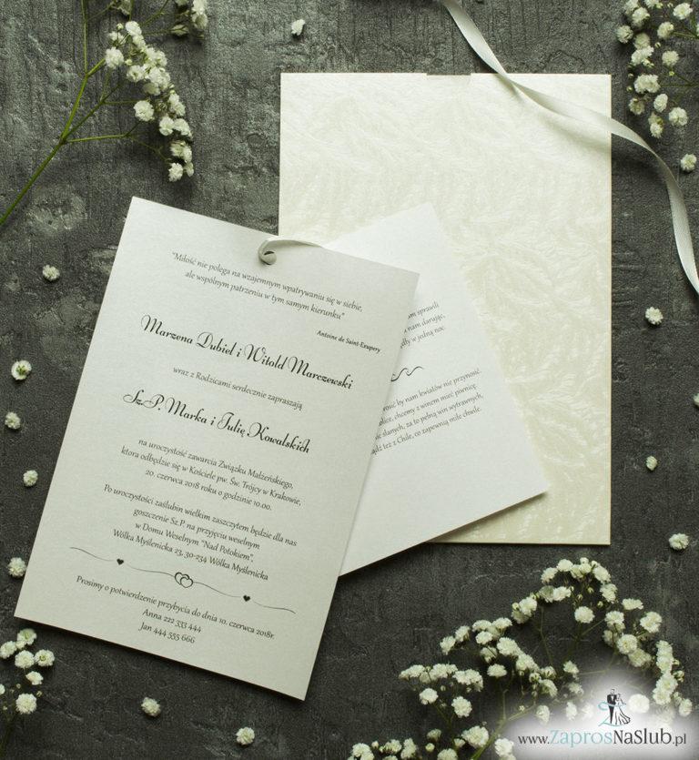 ZaprosNaSlub - Zaproszenia ślubne, personalizowane, boho, rustykalne, kwiatowe księga gości, zawieszki na alkohol, winietki, koperty, plany stołów - Zaproszenia ślubne w kopercie z motywem mrozu skuwającego szyby. ZAP-62-36