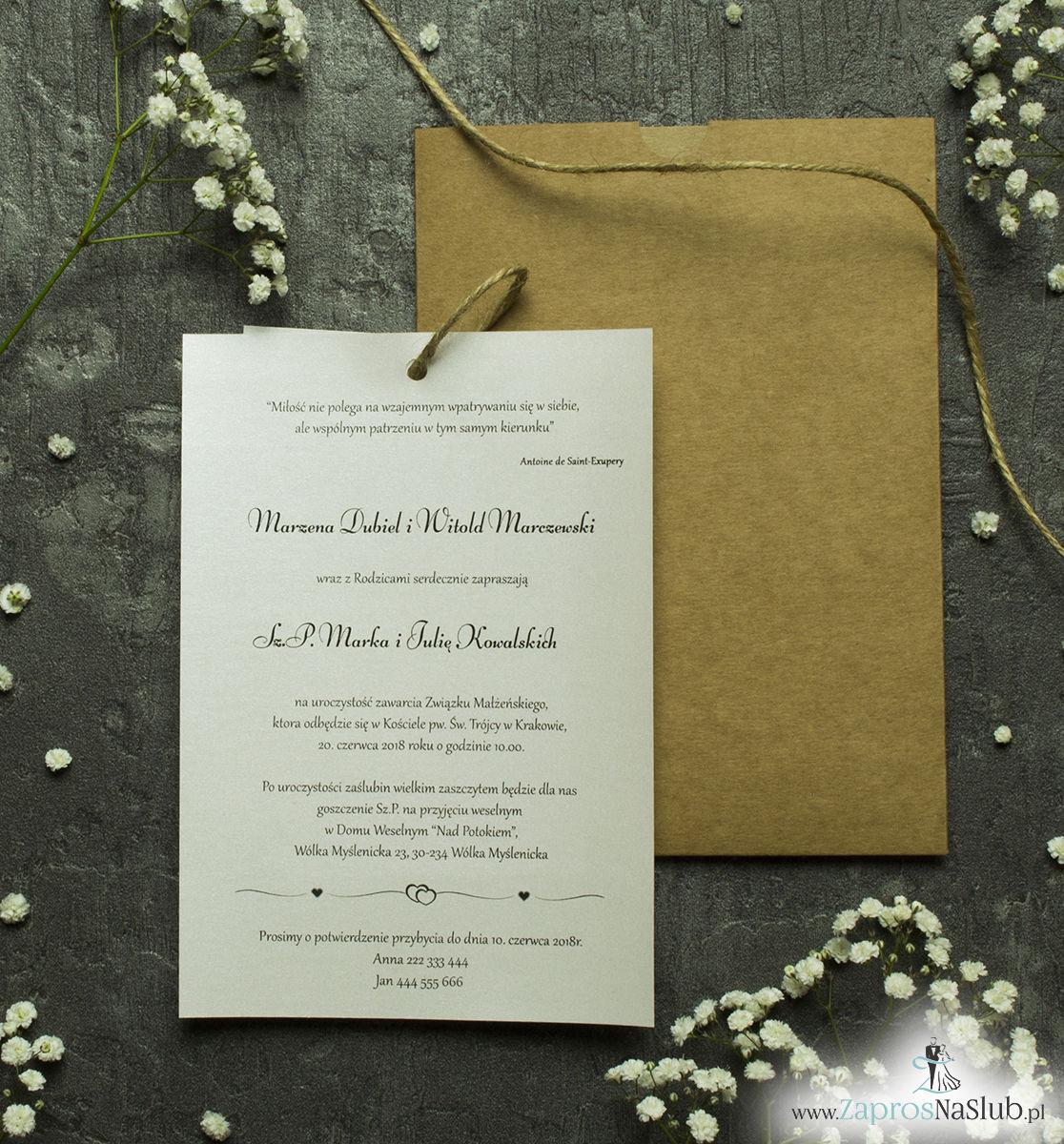 Zaproszenia ślubne w kopercie z papieru ekologicznego. ZAP-62-77