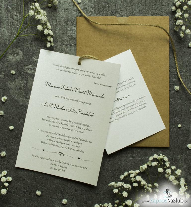 Zaproszenia ślubne w kopercie z papieru ekologicznego. ZAP-62-77 - ZaprosNaSlub