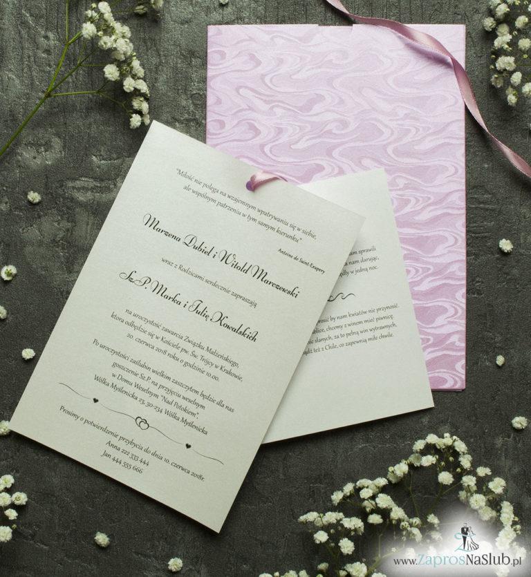 Zaproszenia ślubne w kopercie z motywem różowych słojów drzew. ZAP-62-71 - ZaprosNaSlub