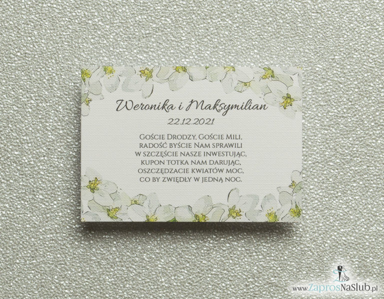 Kwiatowe bileciki do zaproszeń ślubnych – dodatkowe karteczki władane do zaproszeń z kwiatami jabłoni - ZaprosNaSlub