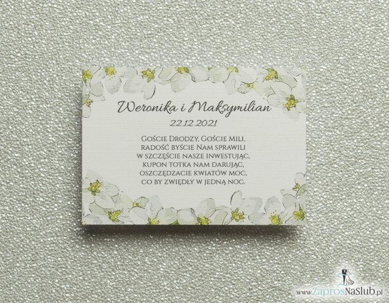 BIL-101 Kwiatowe bileciki do zaproszeń ślubnych - dodatkowe karteczki władane do zaproszeń z kwiatami jabłoni - Zaproszenia ślubne na ślub