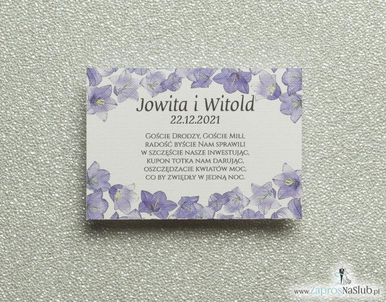 Kwiatowe bileciki do zaproszeń ślubnych – dodatkowe karteczki władane do zaproszeń z kwiatami dzwonków - ZaprosNaSlub