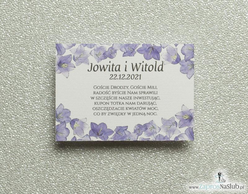BIL-102 Kwiatowe bileciki do zaproszeń ślubnych - dodatkowe karteczki władane do zaproszeń z kwiatami dzwonków - Zaproszenia ślubne na ślub