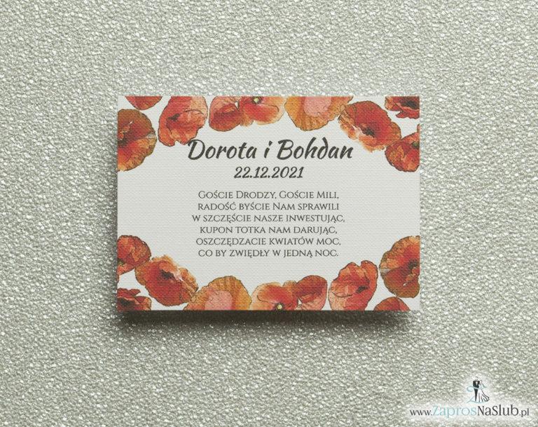 BIL-103 Kwiatowe bileciki do zaproszeń ślubnych - dodatkowe karteczki władane do zaproszeń z kwiatami maków - Zaproszenia ślubne na ślub