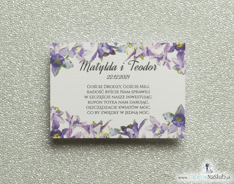 Kwiatowe bileciki do zaproszeń ślubnych – dodatkowe karteczki władane do zaproszeń z fioletowo-zielonymi kwiatami - ZaprosNaSlub