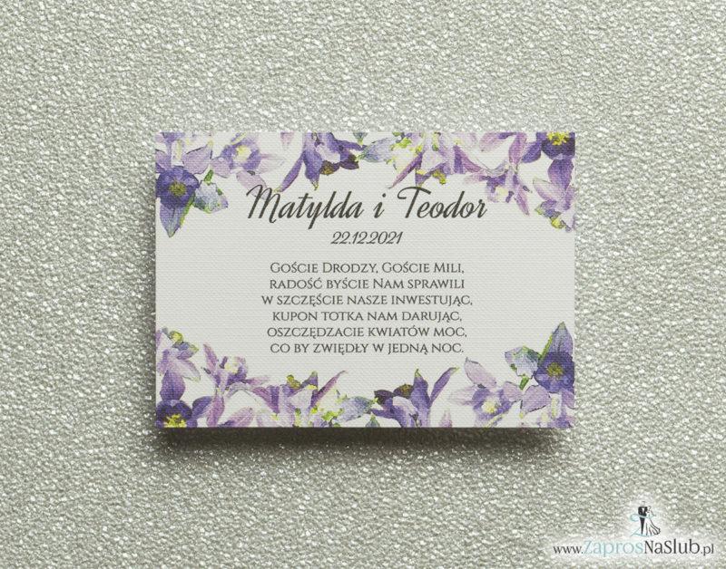 BIL-104 Kwiatowe bileciki do zaproszeń ślubnych - dodatkowe karteczki władane do zaproszeń z fioletowo-zielonymi kwiatami - Zaproszenia ślubne na ślub
