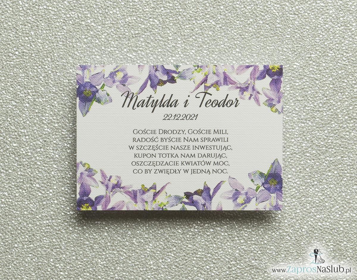 Kwiatowe bileciki do zaproszeń ślubnych - dodatkowe karteczki władane do zaproszeń z fioletowo-zielonymi kwiatami