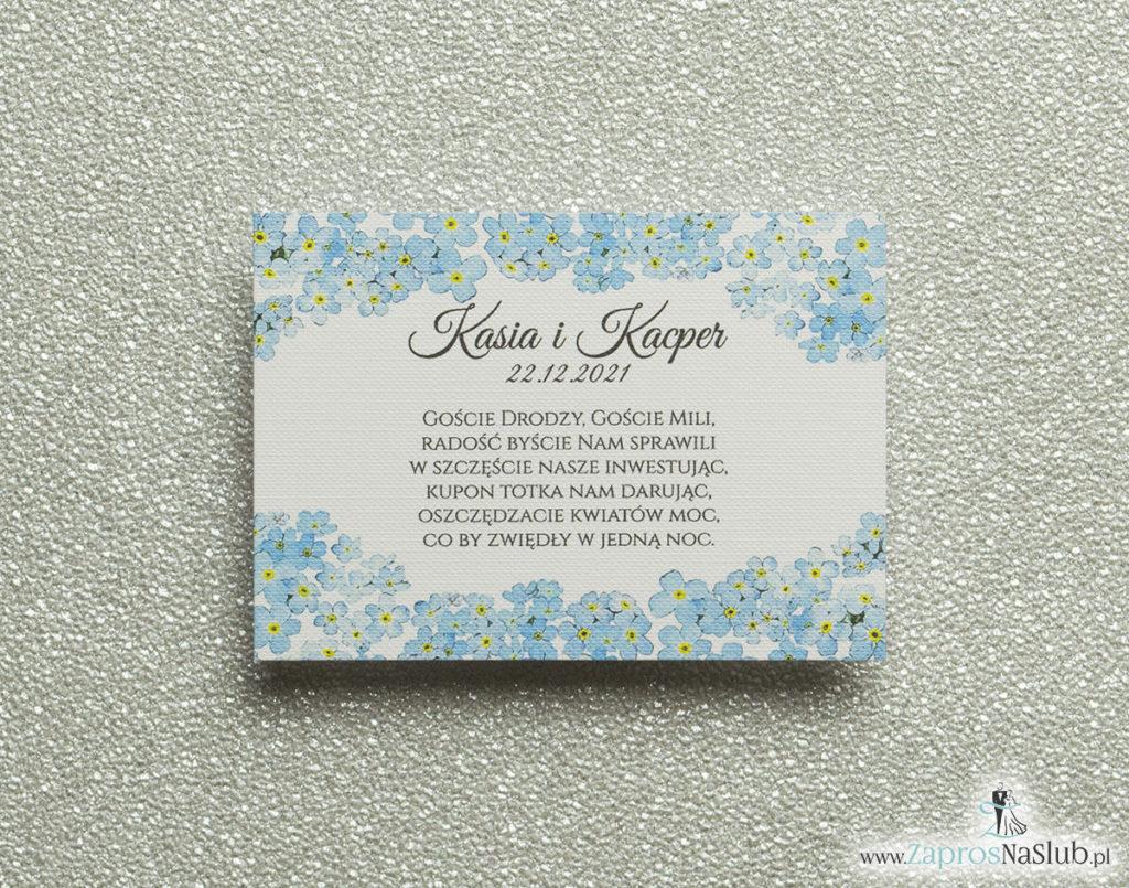BIL-105 Kwiatowe bileciki do zaproszeń ślubnych - dodatkowe karteczki władane do zaproszeń z kwiatami niezapominajki - Zaproszenia ślubne na ślub