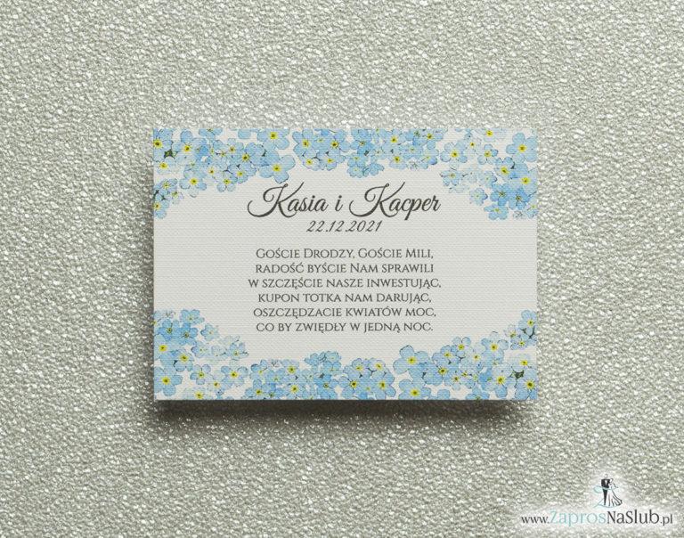 ZaprosNaSlub - Zaproszenia ślubne, personalizowane, boho, rustykalne, kwiatowe księga gości, zawieszki na alkohol, winietki, koperty, plany stołów - Kwiatowe bileciki do zaproszeń ślubnych – dodatkowe karteczki władane do zaproszeń z kwiatami niezapominajki