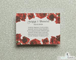 BIL-106 Kwiatowe bileciki do zaproszeń ślubnych - dodatkowe karteczki władane do zaproszeń z kwiatami róży - Zaproszenia ślubne na ślub
