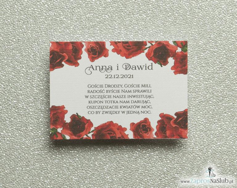 ZaprosNaSlub - Zaproszenia ślubne, personalizowane, boho, rustykalne, kwiatowe księga gości, zawieszki na alkohol, winietki, koperty, plany stołów - Kwiatowe bileciki do zaproszeń ślubnych – dodatkowe karteczki władane do zaproszeń z kwiatami róży