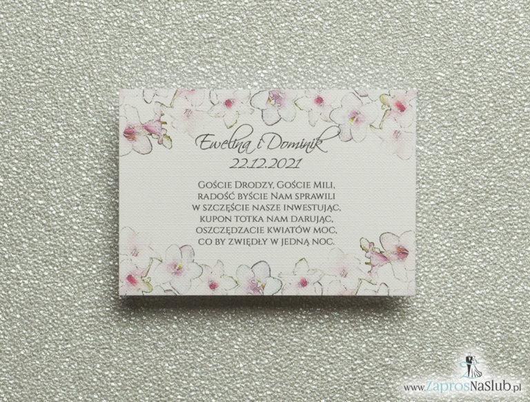Kwiatowe bileciki do zaproszeń ślubnych – dodatkowe karteczki władane do zaproszeń z różowo-białymi kwiatami - ZaprosNaSlub