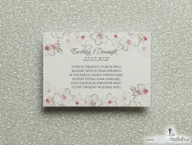 BIL-107 Kwiatowe bileciki do zaproszeń ślubnych - dodatkowe karteczki władane do zaproszeń z różowo-białymi kwiatami - Zaproszenia ślubne na ślub
