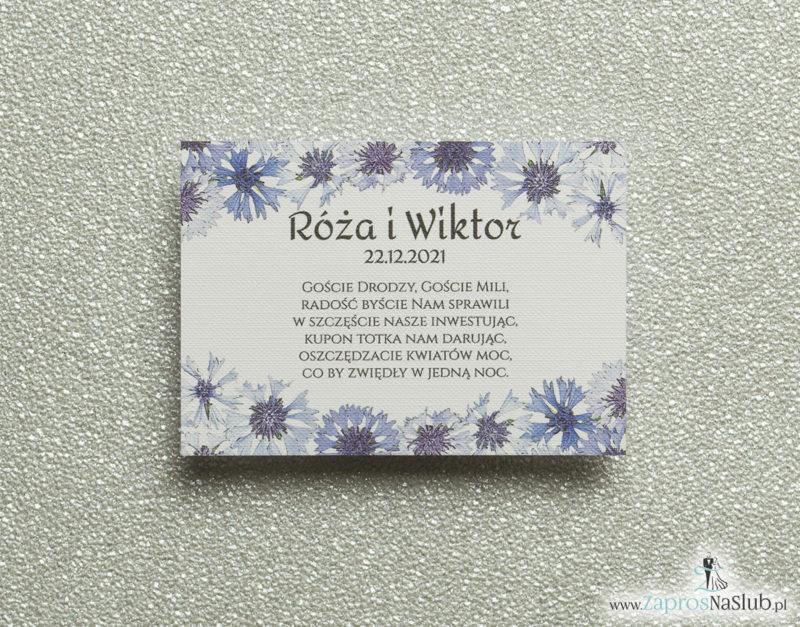 BIL-108 Kwiatowe bileciki do zaproszeń ślubnych - dodatkowe karteczki władane do zaproszeń z kwiatami chabrów - Zaproszenia ślubne na ślub