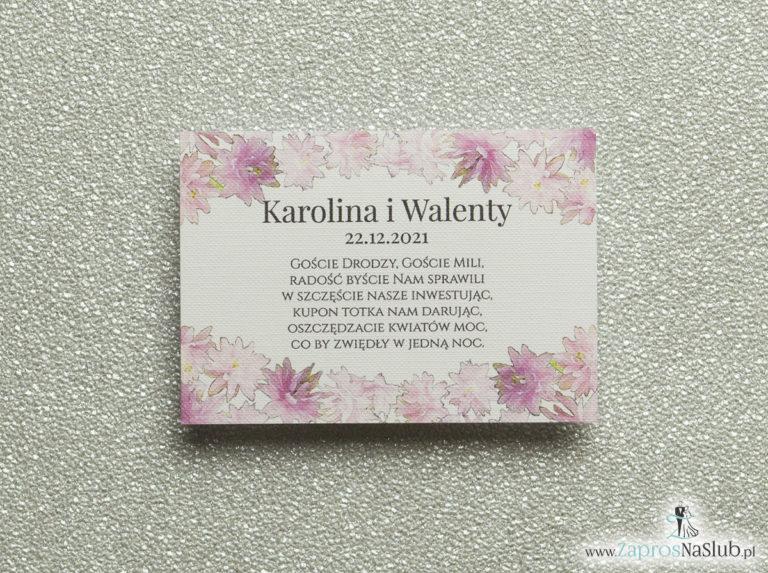 BIL-109 Kwiatowe bileciki do zaproszeń ślubnych - dodatkowe karteczki władane do zaproszeń z różowymi kwiatami - Zaproszenia ślubne na ślub