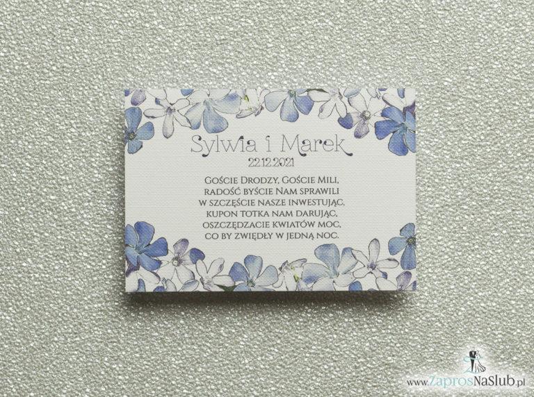 Kwiatowe bileciki do zaproszeń ślubnych – dodatkowe karteczki władane do zaproszeń z biało-niebieskimi kwiatami - ZaprosNaSlub