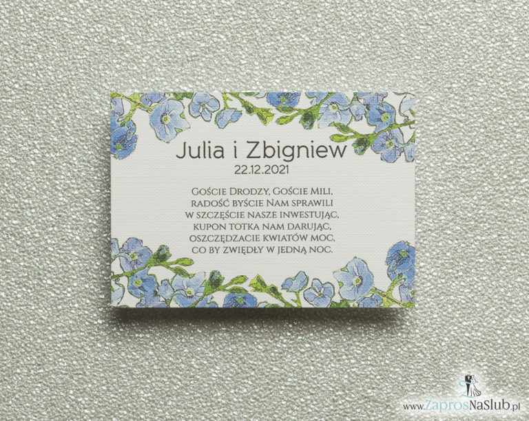 BIL-111 Kwiatowe bileciki do zaproszeń ślubnych - dodatkowe karteczki władane do zaproszeń z niebiesko-zielonymi kwiatami - Zaproszenia ślubne na ślub