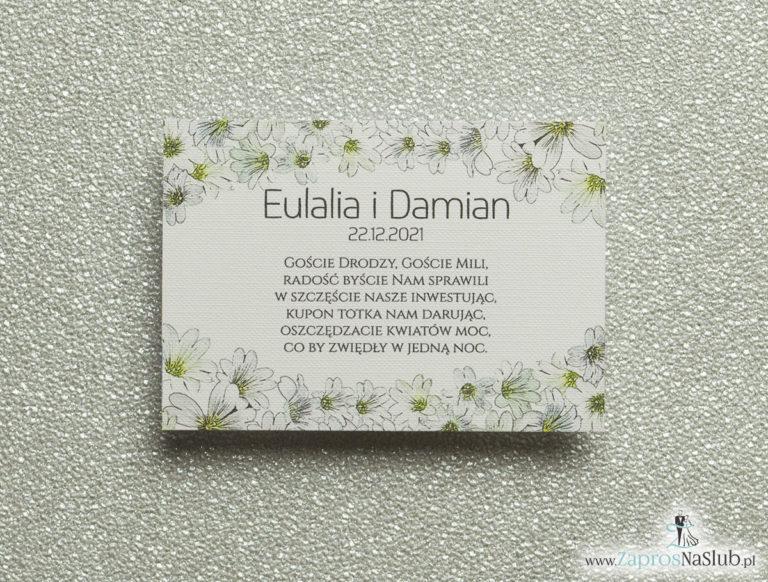 Kwiatowe bileciki do zaproszeń ślubnych – dodatkowe karteczki władane do zaproszeń z drobnymi, białymi kwiatami - ZaprosNaSlub