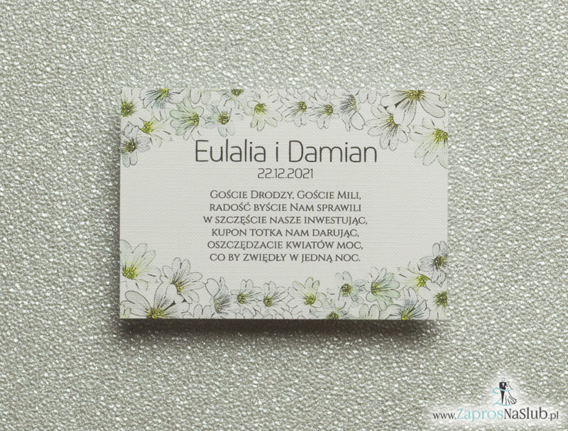 BIL-112 Kwiatowe bileciki do zaproszeń ślubnych - dodatkowe karteczki władane do zaproszeń z drobnymi, białymi kwiatami - Zaproszenia ślubne na ślub