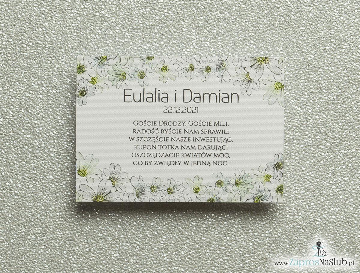 Kwiatowe bileciki do zaproszeń ślubnych - dodatkowe karteczki władane do zaproszeń z drobnymi, białymi kwiatami