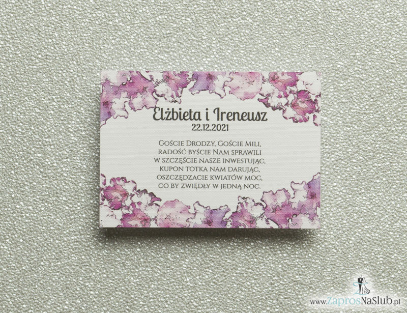 BIL-113 Kwiatowe bileciki do zaproszeń ślubnych - dodatkowe karteczki władane do zaproszeń z kwiatami rododendronu - Zaproszenia ślubne na ślub