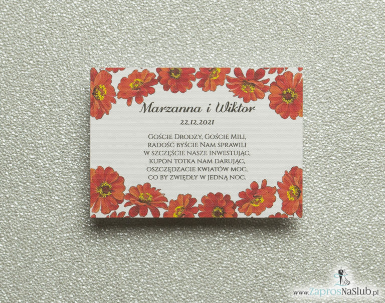 BIL-114 Kwiatowe bileciki do zaproszeń ślubnych - dodatkowe karteczki władane do zaproszeń z kwiatami gerbera - Zaproszenia ślubne na ślub